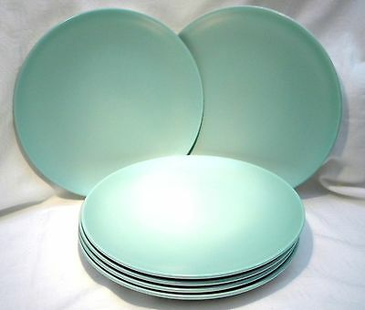 "POOLE POTTERY TWINTONE ICE GREEN & SEAGULL 9"" PLATE x 6"