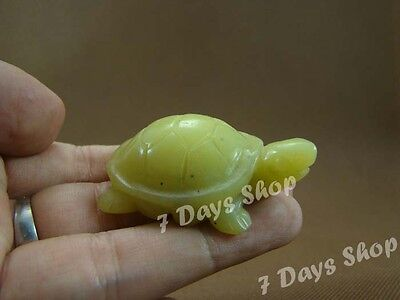 Chinese Rare Yellow Jade Nephrite Hand Carving Wealth Turtle Statue Pendant G191