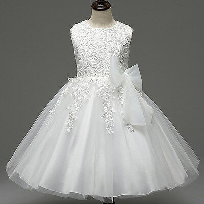 Formal Lace Dress Toddler Kid Party Wedding Bridesmaid Tulle Flower Girl Dresses