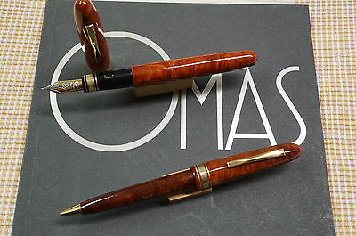 Vintage OMAS A.M. 87  (FP + BP) exceptional set - Briarwood - NEW - 1950'