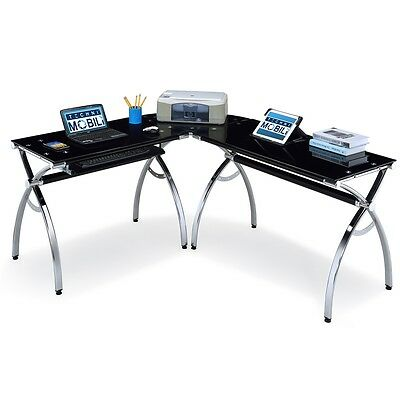 Techni Mobili L-Shaped Colored Tempered Glass Top Corner Desk With Pull Out...