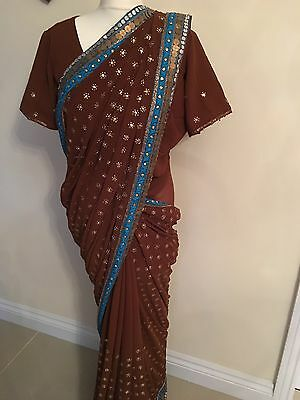 Indian Bollywood Saree Elegant Brown And Blue Wedding Party Wear