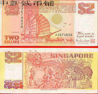 Singapore 2 Dollars 1990 year  BrandNew Banknotes