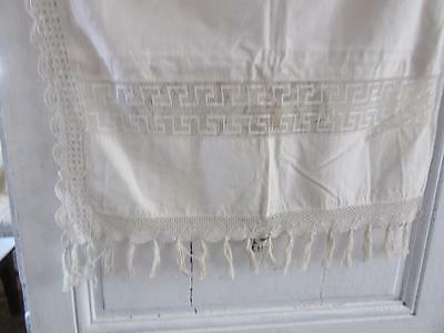 A  Lovely Classic French Antique Linen And Crochet Tassellated Blind