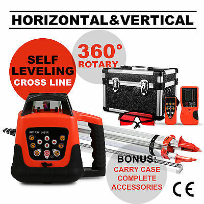 Red Rotary Laser Level 1.65M Tripod 5M Staff Construction Layout Tool Cross Line