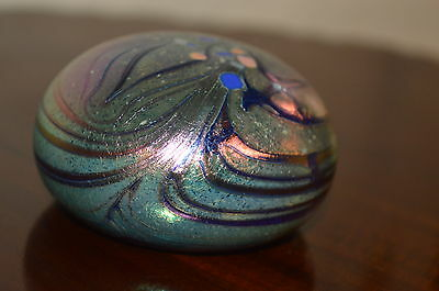 Colin Heaney Iridescent Art Glass Paperweight- signed Colin Heaney 1993