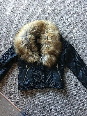 Girls Fur Black Biker Jacket Age 6