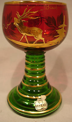 Vintage Red/Green Wine Glass Goblet Decorated Crystals Real Gold Christmas