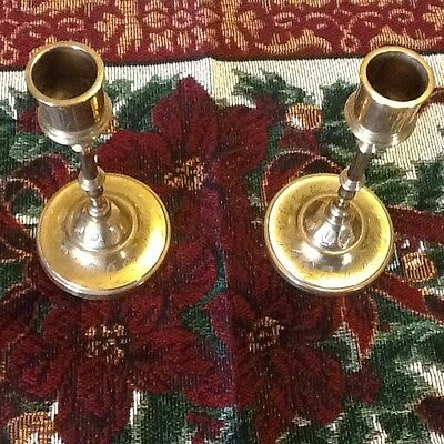 Pair of Christmas brass candle holders