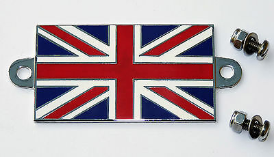Enamel & Chrome Classic Car Badge GB Union Jack Flag with Stainless Steel Screws