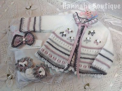 """Hannahs Boutique Ooak 3Pc Hand Knitted Set For 0-3 Month Baby Reborn Doll 20-24"""""""