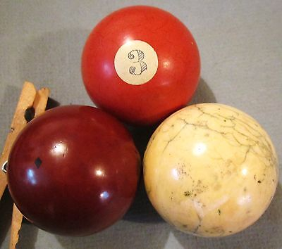 Antique Lot 3 Billiard Balls One Blue Vein, One Diamond Mark, One Lined Number 3