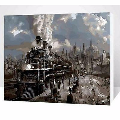 Wood Framed Painting By Number Kit Steam Train Journey Tour Vehicle Home Decor
