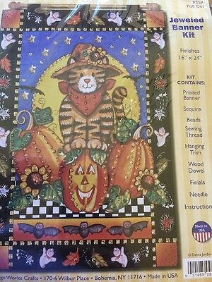 """Fall Cats Jeweled Banner Kit by Design Works Crafts Finished Size 16"""" x 24"""" NEW!"""