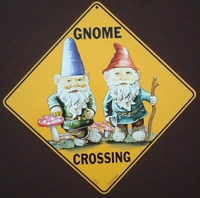 GNOME CROSSING Sign aluminum  picture gnomes decor novelty home art signs