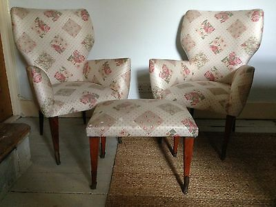 Pretty Italian Midcentury Armchairs And Stool