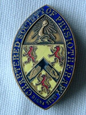 "NURSING ""CHARTERED SOCIETY OF PHYSIOTHERAPY"" ENAMEL BADGE No P29760"