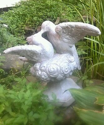 Vintage Painted Cement Concrete LOVE BIRDS Garden Art Statue Weathered