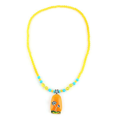 Festival Woman Lady Plastic Bead Flower Decor Pendant Necklet Necklace Ornament