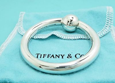 Tiffany & Co Sterling Silver Single Baby Rattle Teething Ring with Pouch RARE