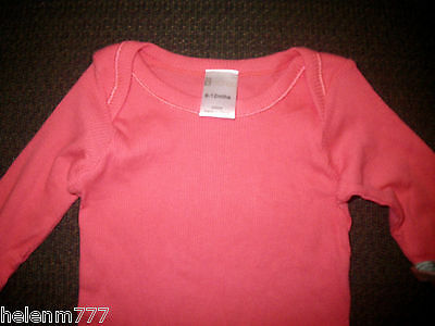 Mango Girl 00 0 6 -12 M Orange Soft Rib Cotton Pocket Shoulder Long Sleeve Tee
