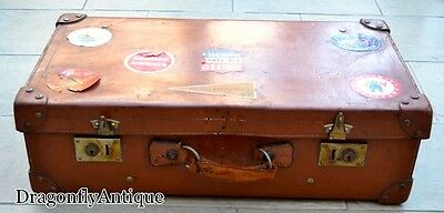 Vintage Antique 1940s Genuine Large Leather Suitcase Trunk Travel Stickers