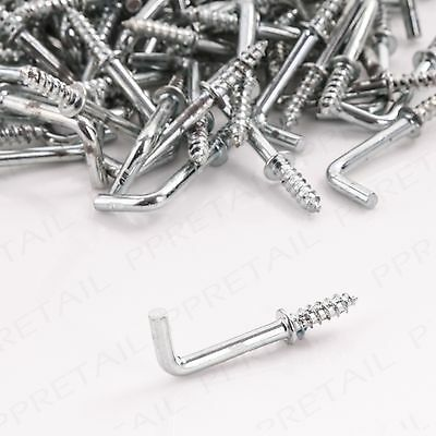 100x SMALL 19mm SILVER SHOULDERED DRESSER CUP HOOKS Square Screw In L Shape BULK