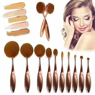 10 Pcs Rose Gold Toothbrush Shaped Oval Cream Puff Powder Makeup Brushes Set Kit