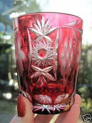 Bohemian Crystal Whisky Glass Cranberry Cut to Clear Fruiting Vine Flash Glass