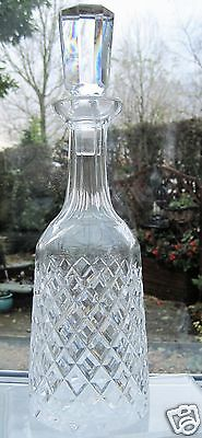 Waterford Crystal Alana Decanter Faceted Stopper Signed Wine Decanter