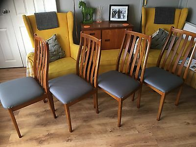 4 Mid Century Teak Dining Chairs, Scandinavian Inspired, New Neutral Grey Fabric