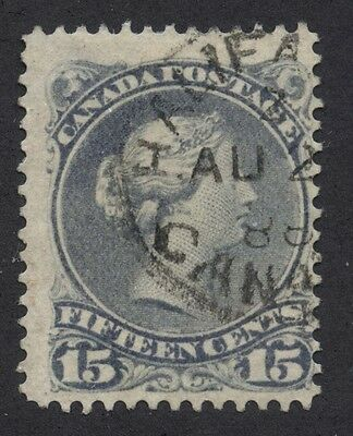 Canada 1868 Large Queen 15c grey #30 Oval CDS Halifax AU 2 88