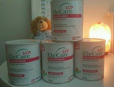 4 x Elecare 0-12 Month unflavoured 400g. NEW UNOPENED