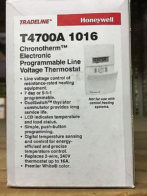 **Brand New** Honeywell Chronotherm T4700A 1016 Line Voltage Digital Thermostat