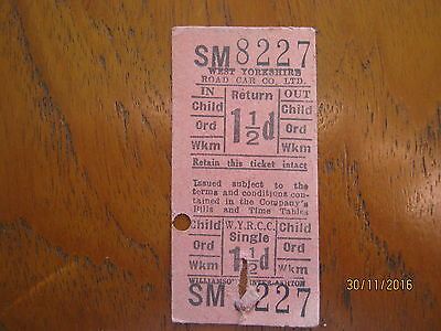 Bus ticket WEST YORKSHIRE ROAD CAR CO LTD 8227