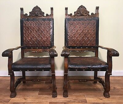 Pair Of Spanish Renaissance Style High Back Carver Chairs, Pressed Leather