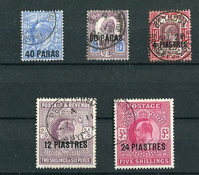 British Levant KEVII 1902-05 set of 5 SG8/12 fine used