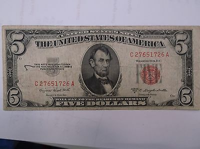 USA $5  1953 Red SeaL
