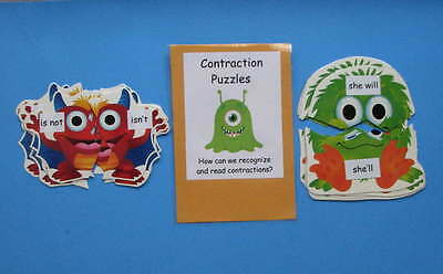 Teacher Made Literacy Center Common Core Resource Game Contraction Puzzles