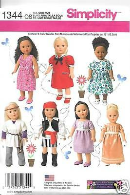 1344  18 Inch Doll Clothes New Sewing Pattern Simplicity 1344