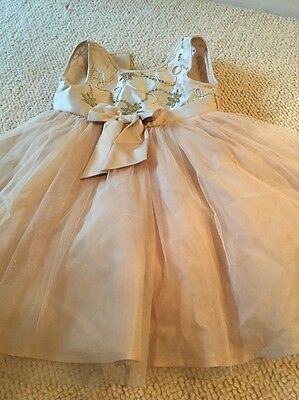 Little Girls Gold Christmas Party Dress / Bridesmaid Dress Aged 2-3 Years