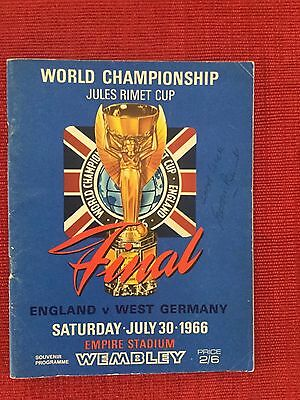 Genuine England World Cup Final Programme, Signed by Gordon Banks