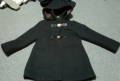 girls age 6-7 years duffle style navy blue fully lined jacket