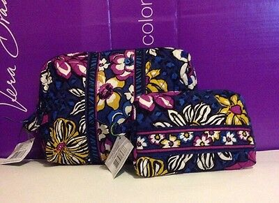 NWT Vera Bradley Travel LARGE & SMALL Cosmetic Bags SET In African Violet