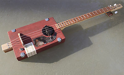 Cigar Box Guitar by Chickenbone John electric 3 string - distressed paint finish