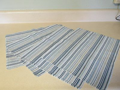 Blue White Gold Stripe Woven Placemats Set of 4!