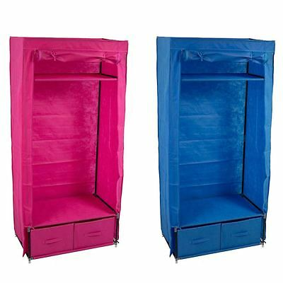 Double Storage Wardrobe Blue Pink Canvas Clothes Garment Rail By Home Discount