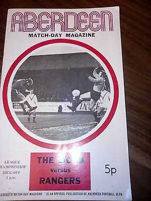 Aberdeen V Rangers League Championship Saturday 15Th January 1972 In Good Cond