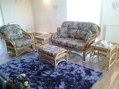 5 Piece Floral Country Style Wicker Conservatory Set