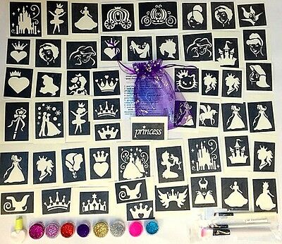 Princess GLITTER TATTOO KIT 90 large stencils  8 glitters glue PERSONALISED FREE